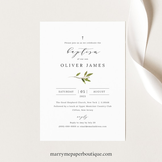 Greenery Baptism Invitation Template, Green Leaf Baptism Invite Printable, Templett Editable, Instant Download
