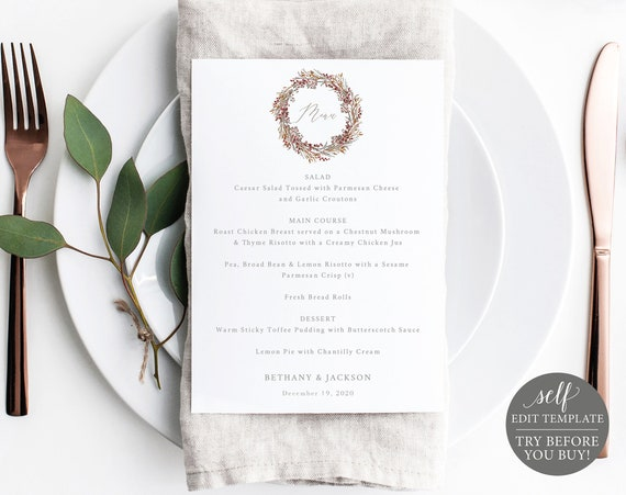 Wedding Menu, TRY BEFORE You BUY, Printable Menu, Instant Download, 100% Editable Menu, 5x7