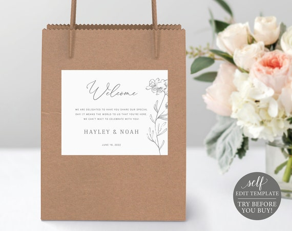 Wedding Guest Bag Label Template, Elegant Botanical, Editable & Printable Instant Download, Templett, TRY BEFORE You Buy