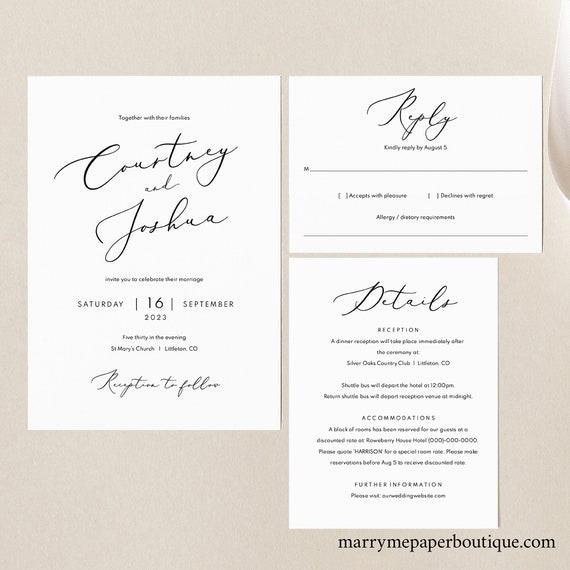 Wedding Invitation Template Set, Details & RSVP, Elegant Script, Printable Wedding Invite Suite, Editable, Templett, INSTANT Download