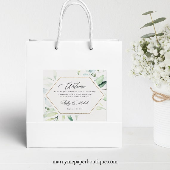 Wedding Guest Welcome Bag Label Template, Classic Greenery, Wedding Gift Bag Label, Printable, Templett INSTANT Download, Editable