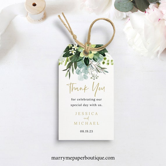 Wedding Favor Tag Template, Lush Greenery, Wedding Gift Tag, Printable, Editable, Templett INSTANT Download