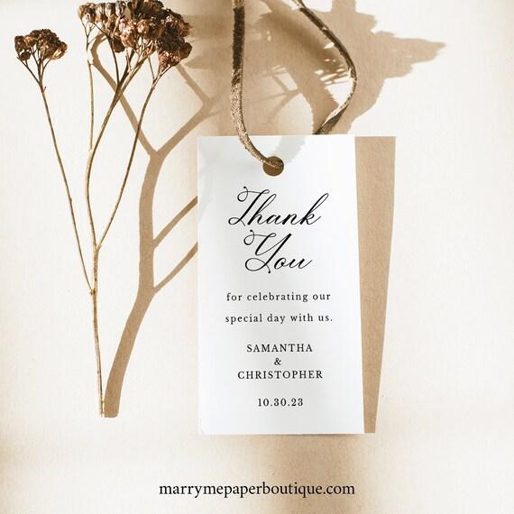 Wedding Favor Tag Template, Elegant Romantic Script, Printable Wedding Tag, Rectangular Tag, Templett INSTANT Download, Editable