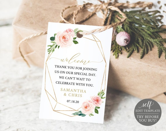 Welcome Tag Template, TRY BEFORE You BUY, Blush Gold Geometric,  Editable, Instant Download Wedding Favor Tag Printable