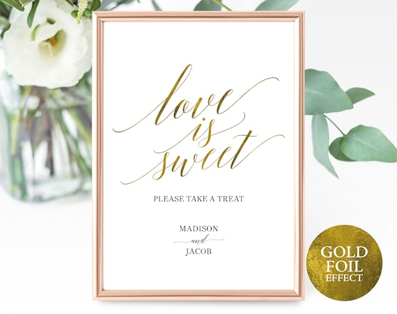 Faux Gold Love is Sweet Sign Template, Please Take a Treat Sign, Printable Treat Sign, Editable Treat Sign, PDF Instant Download, MM07-3