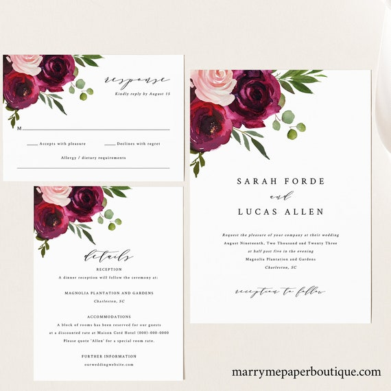 Wedding Invitation Template Suite, Burgundy Flowers, Editable Wedding Invite Printable, Templett Instant Download, Try Before You Buy