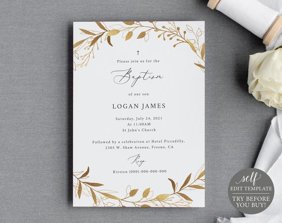 Baptism Invitation Template, Gold Wreath, TRY BEFORE You BUY, Fully Editable Instant Download
