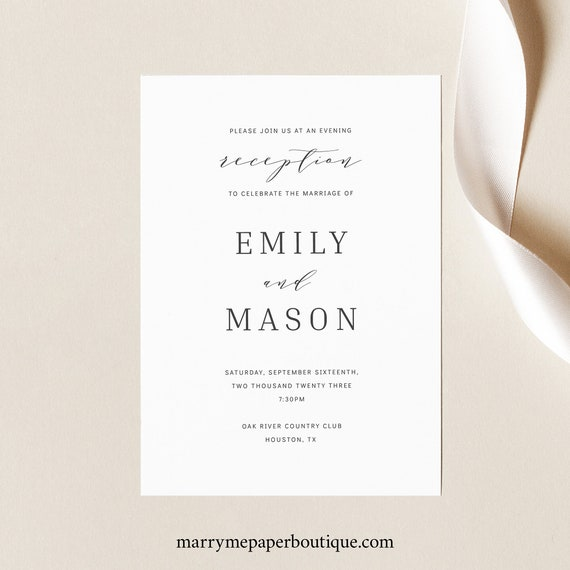 Reception Invitation Template, Editable Instant Download, TRY BEFORE You BUY, Formal & Elegant