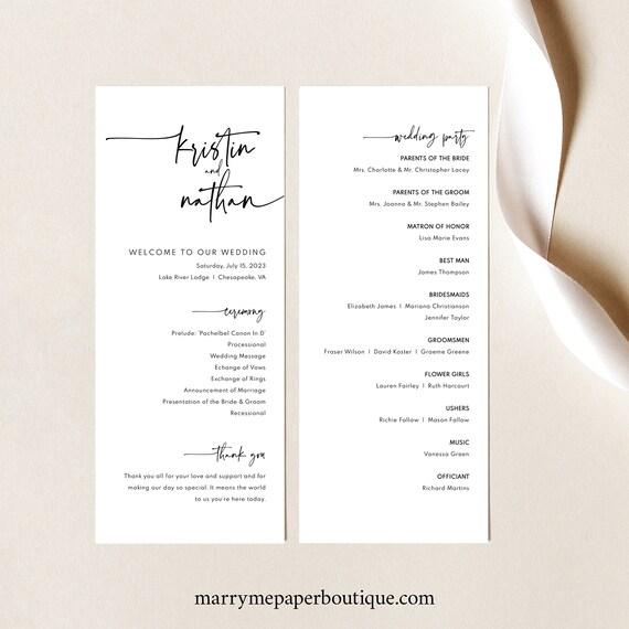 Wedding Program Template, Modern Contemporary, Clean Simple Wedding Ceremony Program, Printable, Editable, Tall, Templett INSTANT Download