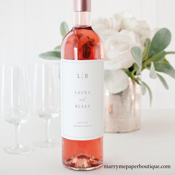 Wine Bottle Label Template, Monogram & Border, Wedding Wine Label, Printable, Editable, Drinks Label, Templett INSTANT Download