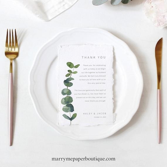 Thank You Letter Template, Elegant Eucalyptus, Modern Wedding Thank You Note, Printable, Templett INSTANT Download, Editable