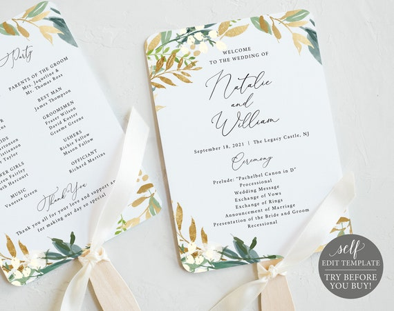 Wedding Program Fan Template, Greenery & Gold, 100% Editable Instant Download, TRY BEFORE You BUY
