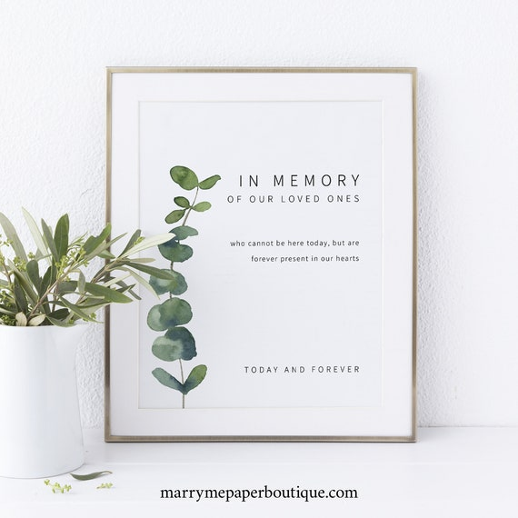 In Memory Sign Printable, Elegant Eucalyptus, Greenery Wedding Sign, INSTANT Download, Editable Template