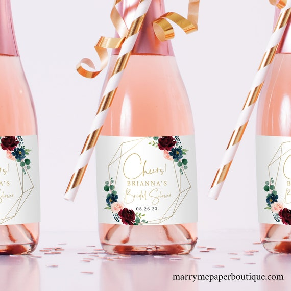 Burgundy Mini Champagne Label Template, Geometric, Navy, Bridal Shower Champagne Bottle Label Printable, Templett Editable, Instant Download