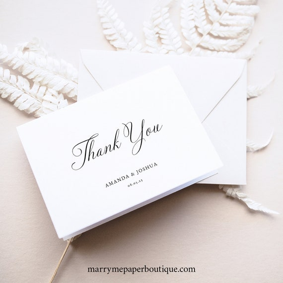 Thank You Card Template, Calligraphy, Traditional Wedding, Thank You, Printable, Folded, Editable, Templett INSTANT Download