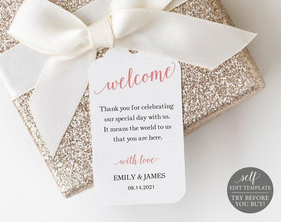 Favor Tag Template, Rose Gold Script, TRY BEFORE You BUY, 100% Editable Instant Download
