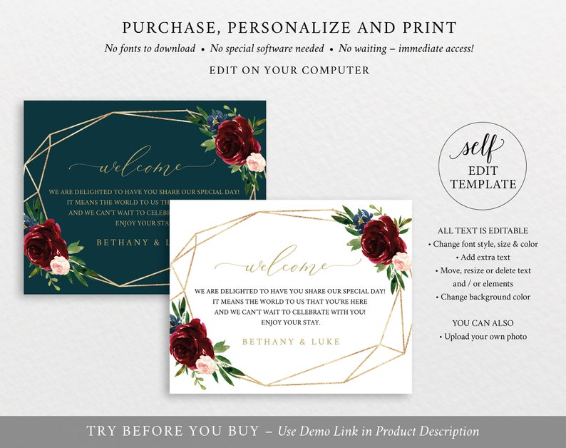Burgundy Geometric Guest Bag Label Template Demo Available Editable /& Printable Instant Download