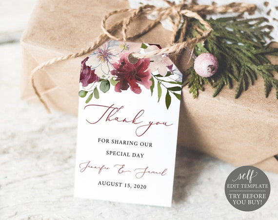 Wedding Thank You Tag Template, Wedding Favor Tag Printable, 100% Editable, Instant Download, Burgundy Floral, TRY BEFORE You BUY