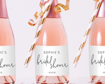 Mini Champagne Label Template, Minimalist Elegant, Editable & Printable Instant Download, Try Before Purchase