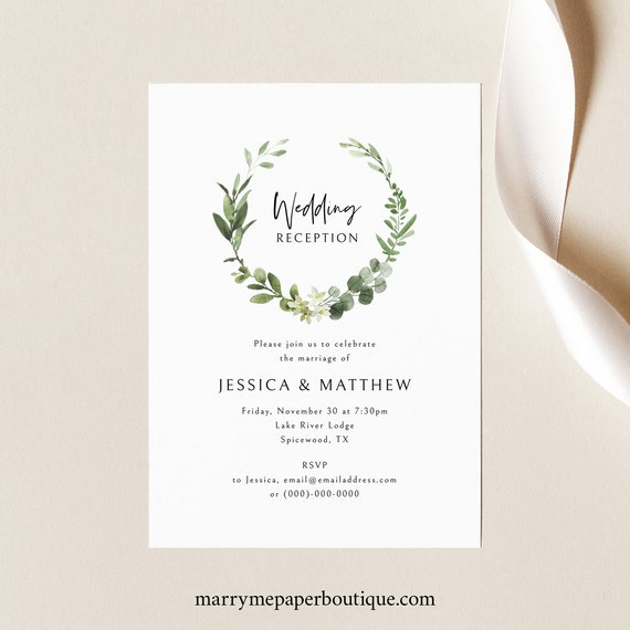Wedding Reception Invitation Template, Elegant Greenery, Editable Reception Invite, Printable, Templett INSTANT Download