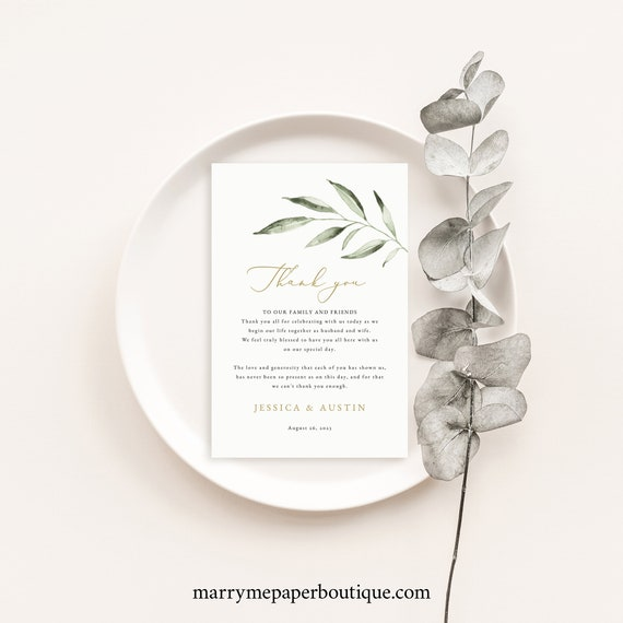 Wedding Thank You Note Template, Olive Leaf Greenery, Elegant Thank You Letter, Printable, Editable, Templett INSTANT Download