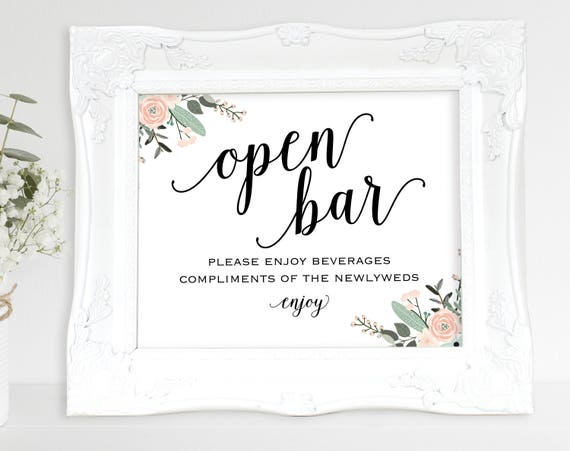 Floral Open Bar Sign, Printable Wedding Reception Sign, Reception Bar Sign, Wedding Bar Sign, Wedding Signs, PDF Instant Download, MM01-6