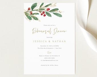 Rehearsal Dinner Invitation Template, Green Leaf  & Berries, Rehearsal Invite, Printable, Winter Wedding, Templett INSTANT Download