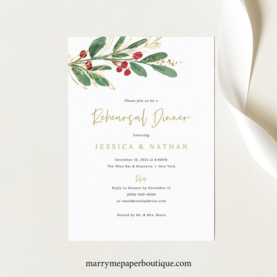 Rehearsal Dinner Invitation Template, Green Leaf  & Berries, Rehearsal Invite, Printable, Winter Wedding, Templett INSTANT Download