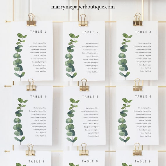 Seating Cards Template, Elegant Eucalyptus, Greenery, Printable Seating Chart Cards, Templett INSTANT Download, Editable