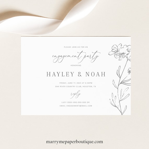 Engagement Party Invitation Template, Elegant Floral, TRY BEFORE You BUY,  Editable Instant Download