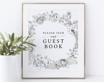 Guest Book Sign Template, Non-Editable Instant Download, Neutral Floral