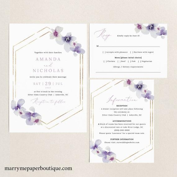 Wedding Invitation Template Set, Delicate Lilac Flowers, Printable Wedding Invitation Suite, Purple Hydrangea, Templett INSTANT Download