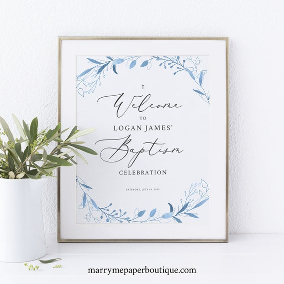 Small Baptism Welcome Sign Template, Light Blue Foliage, Blue Baptism Table Sign, Printable, Editable, 8x10, Templett INSTANT Download