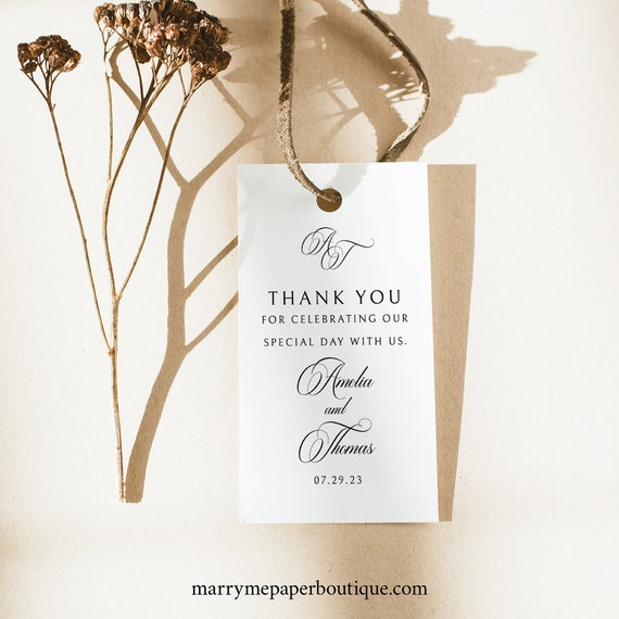 Wedding Favor Tag Template, Traditional Wedding, Calligraphy Monogram, Rectangular Wedding Tag Printable, Templett INSTANT Download
