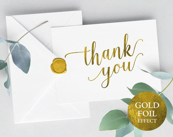 Faux Gold Wedding Thank You Card Template, Printable Thank You Card, Editable Gold Thank You, Folded Thank You, PDF Instant Download, MM01-3