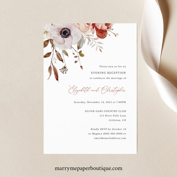 Reception Invitation Template, Fall Floral, Editable, Fall Wedding Reception Evening Invitation, Printable, Templett INSTANT Download