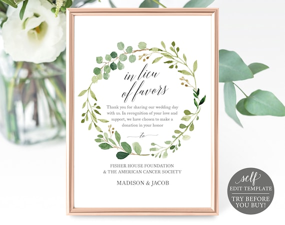 Greenery Wedding In Lieu of Favors Sign Template, 100% Editable, Printable In Lieu of Favors Sign, TRY BEFORE You BUY, Instant Download