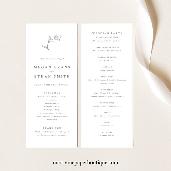 Wedding Program Template, Botanical Leaf, Try Before Purchase, Tall Program Printable, Templett Instant Download