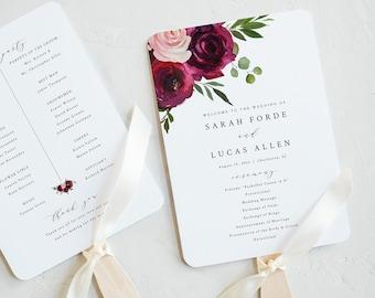 Wedding Program Fan Template, Try Before Purchase, Fan Program Printable, Templett Instant Download, Burgundy Flowers