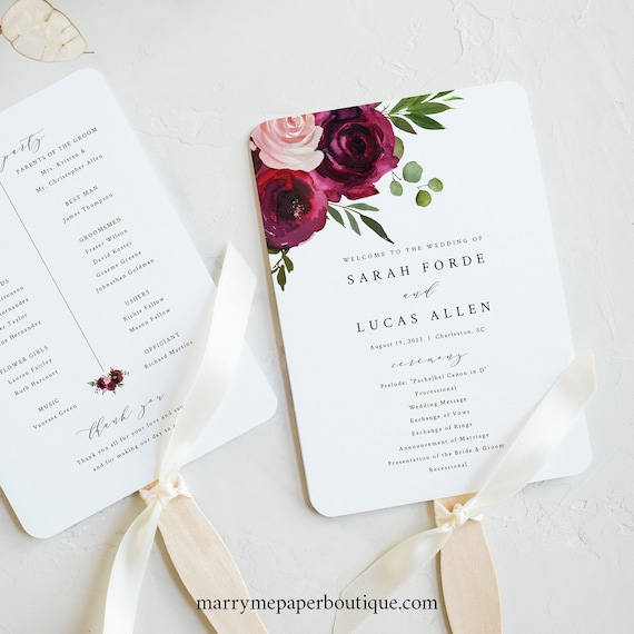 Wedding Program Fan Template, Try Before Purchase, Fan Program Printable, Templett Instant Download, Burgundy Flowers
