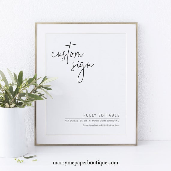 Create MULTIPLE SIGNS Template, Minimalist Elegant, Try Before Purchase, Editable & Printable Instant Download