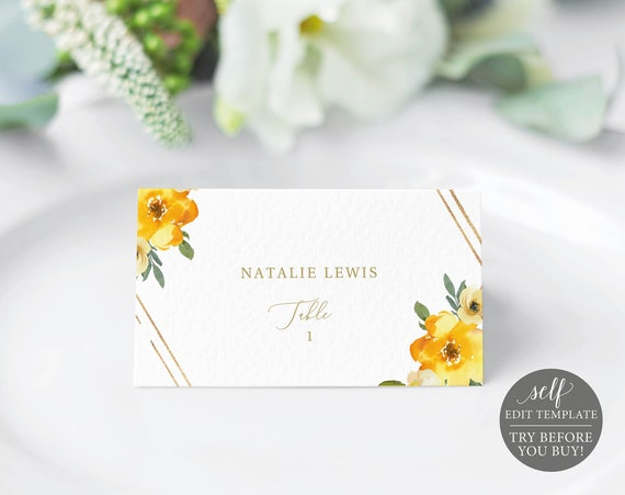 Place Card Template, Yellow Floral, Editable & Printable Instant Download, Demo Available, Templett