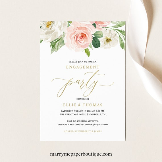Engagement Party Invite Template, Blush Floral, TRY BEFORE You BUY, Editable Instant Download