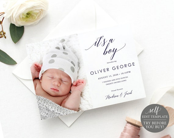 Birth Announcement Template, TRY BEFORE You BUY, New Baby Photo Card Announcement Printable, 100% Editable, Instant Download