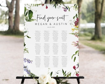 Wedding Seating Chart Template, Summer Garden Greenery, Printable Seating Plan, Editable, Templett INSTANT Download