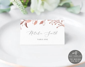 Place Card Template, TRY BEFORE You BUY, Fully Editable Instant Download, Rose Gold Leaf