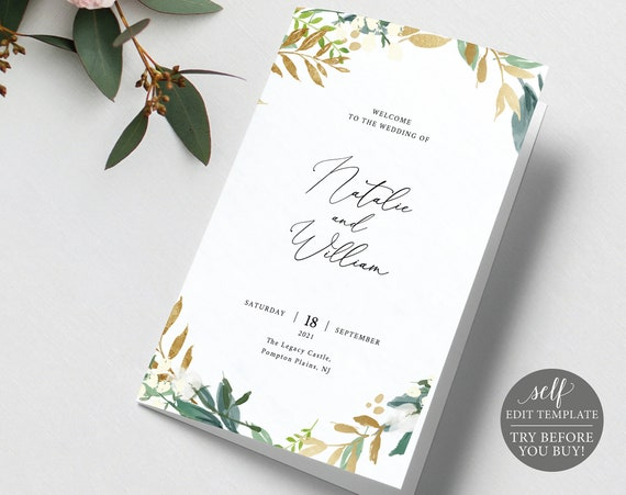 Wedding Program Template, Folded, TRY BEFORE You BUY, 100% Editable Instant Download, Gold & Greenery