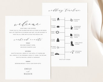 Wedding Itinerary Card Template, TRY BEFORE You BUY,  Editable Instant Download, Formal & Elegant