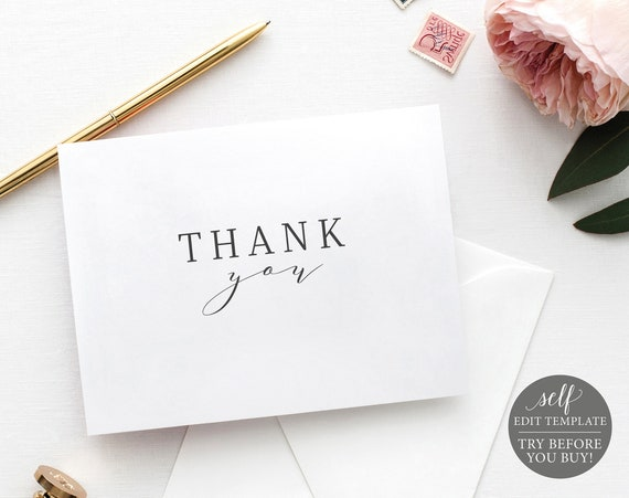 Thank You Card Template, Fold, 100% Editable Instant Download, TRY BEFORE You BUY, Formal & Elegant