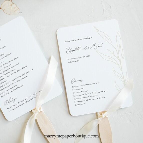 Wedding Program Fan Template, Botanic Calligraphy, Wedding Fan Program, Printable, Editable, Gold Leaf, Templett INSTANT Download